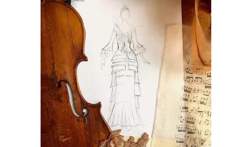 Эскиз платья-скрипки. Фото instagram.com/sylviefaconcreatricefrance