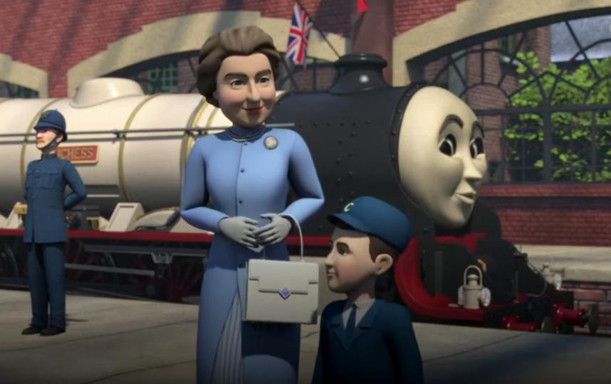В эпизоде также в качестве анимационных персонажей появились королева Елизавета II и её сын принц Чарльз. Фото скриншот https://www.youtube.com/watch?v=JTDYTH_HcQQ, Скриншот Youtube