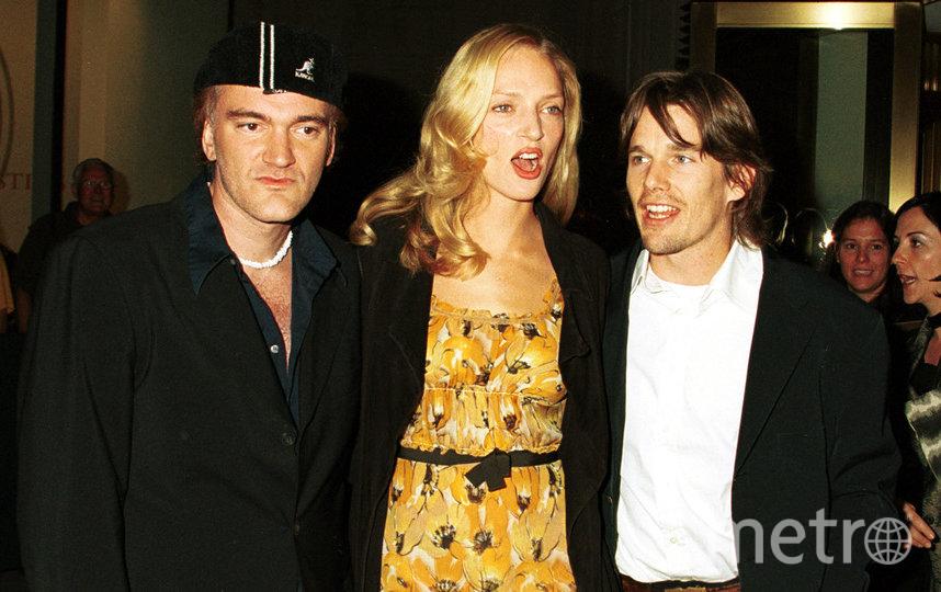Ума с мужем Итаном Хоуком и Квентином Тарантино. Фото Getty