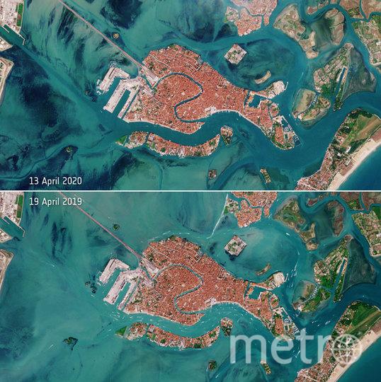 Верхнее фото было сделано в апреле 2019, нижнее – в апреле 2020. Фото European Space Agency (ESA)