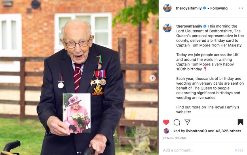 Ветеран Том Мур также получил персональную открытку от королевы Елизаветы II. Фото скриншот instagram @theroyalfamily