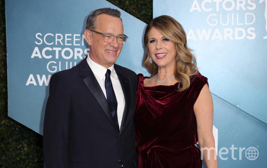 Том Хэнкс с женой Ритой в начале 2020 года на церемонии награждения Гильдии киноактёров. Фото Getty