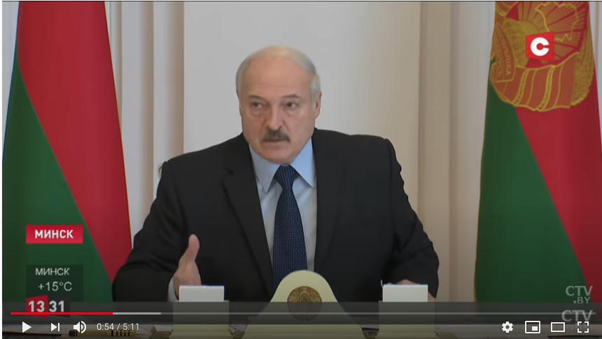 Лукашенко объявил, что отменять парад 9 мая не будет. Фото Скриншот Youtube