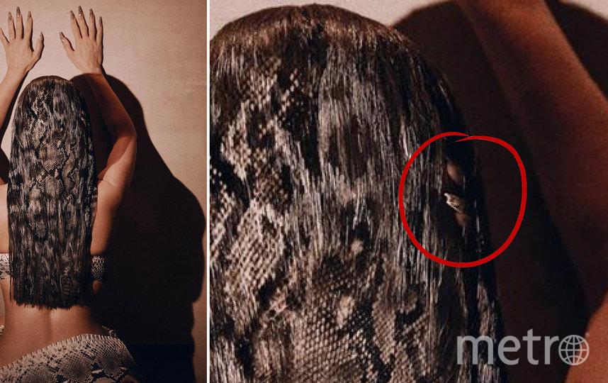 Ретушёр не обратил внимания, что в волосах звезды видна третья рука. Фото instagram.com/kimkardashian