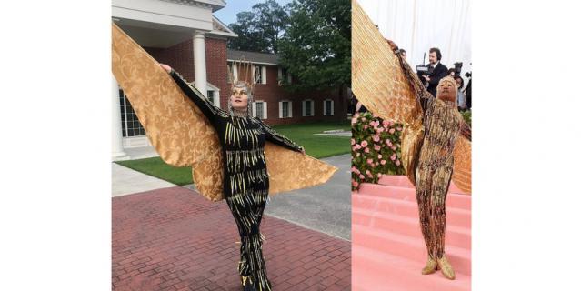 Актёр Билли Портер в 2019 появился на балу весь в золоте и с крыльями. Его образ удалось повторить при помощи колец от алюминиевых банок и штор.