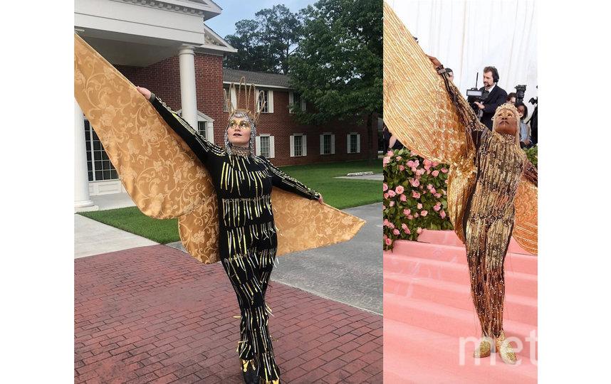 Актёр Билли Портер в 2019 появился на балу весь в золоте и с крыльями. Его образ удалось повторить при помощи колец от алюминиевых банок и штор. Фото instagram.com/sarahdgarner