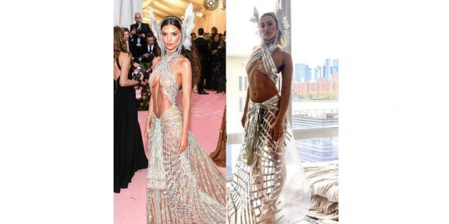 В 2019 году Эмили Ратаковски появилась на балу в довольно откровенном платье. Впрочем, это не помешало пользовательнице Instagram повторить её наряд, используя металлизированный скотч и полиэтилен.