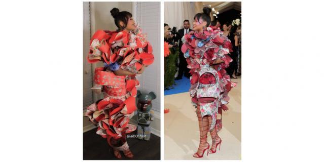 В 2017 году Рианна посетила бал в настолько необычном платье бренда Comme des Garcons, что его оценила даже Леди Гага.
