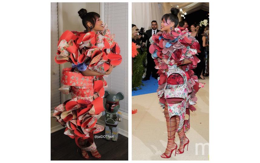 В 2017 году Рианна посетила бал в настолько необычном платье бренда Comme des Garcons, что его оценила даже Леди Гага. Фото instagram.com/jaidotfoot