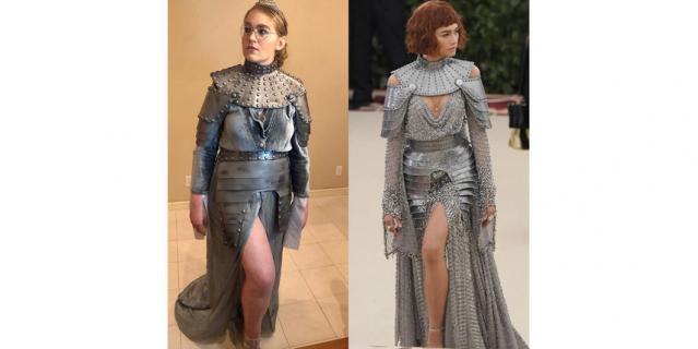 Актриса Зендая на балу 2018 года предстала в образе Жанны д'Арк. Довольно сложный наряд, но и его смогли повторить.
