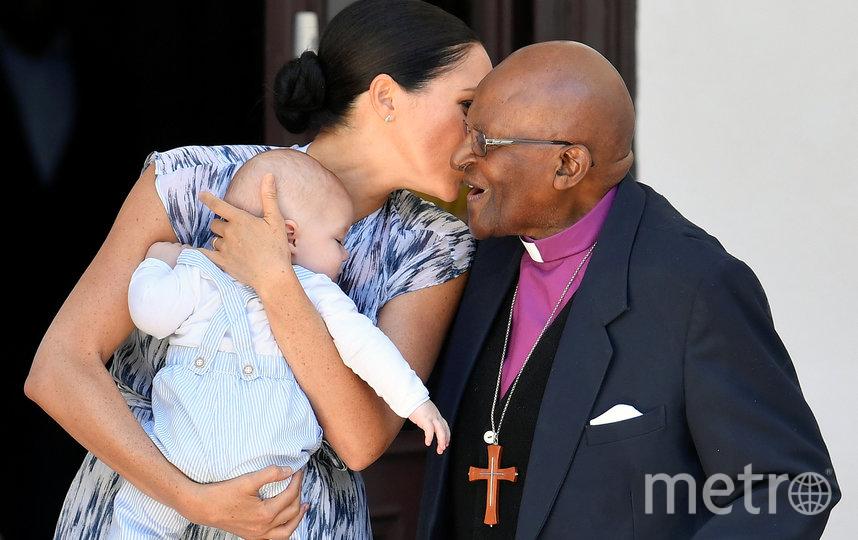 Меган Маркл и Арчи с архиепископом Десмондом Туту. Фото Getty