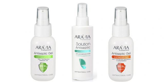 Лосьон-антисептик (315 руб.) и гель-антисептик для рук (300 руб.) от ARAVIA Professional.