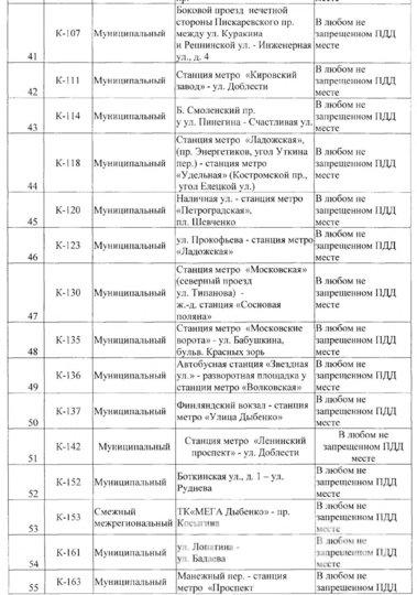 Список маршруток, которые не будут ходить в Петербурге до 31 мая.