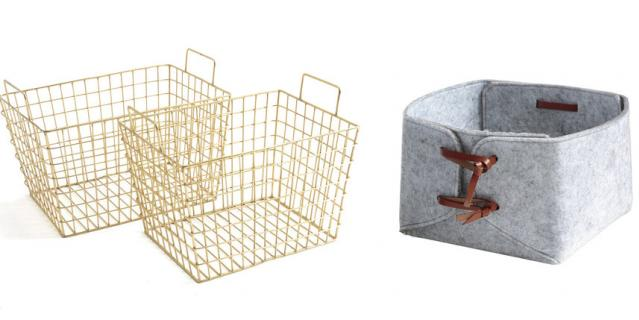Набор из 2 металлических корзин с ручками La Redoute Interieurs (5999 руб.) / Коробка из фетрина La Redoute Interieurs (2999 руб.).