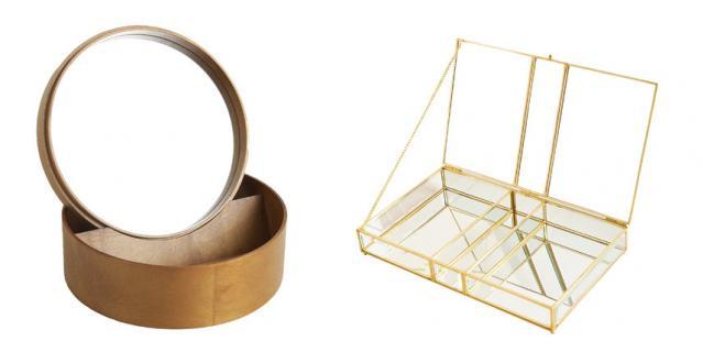 Круглая деревянная шкатулка с зеркалом Zara Home (4999 руб.) / Стеклянная шкатулка с золотистым металлическим каркасом Zara Home (2999 руб.).