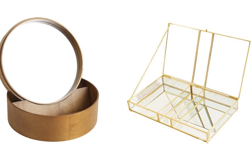 Круглая деревянная шкатулка с зеркалом Zara Home (4999 руб.) / Стеклянная шкатулка с золотистым металлическим каркасом Zara Home (2999 руб.). Фото Предоставлено, Предоставлено организаторами