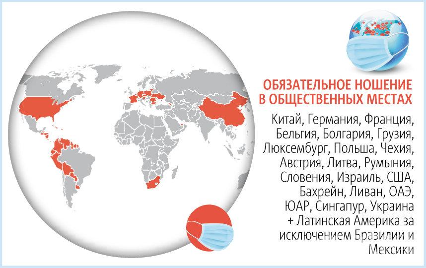 """Обязательное ношение масок в общественных местах ввесли в нескольких странах. Фото Инфографика: Павел Киреев, """"Metro"""""""