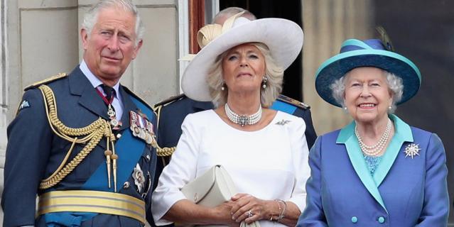Чарльз, принц Уэльский, Камилла, герцогиня Корнуолл, и королева Елизавета II.