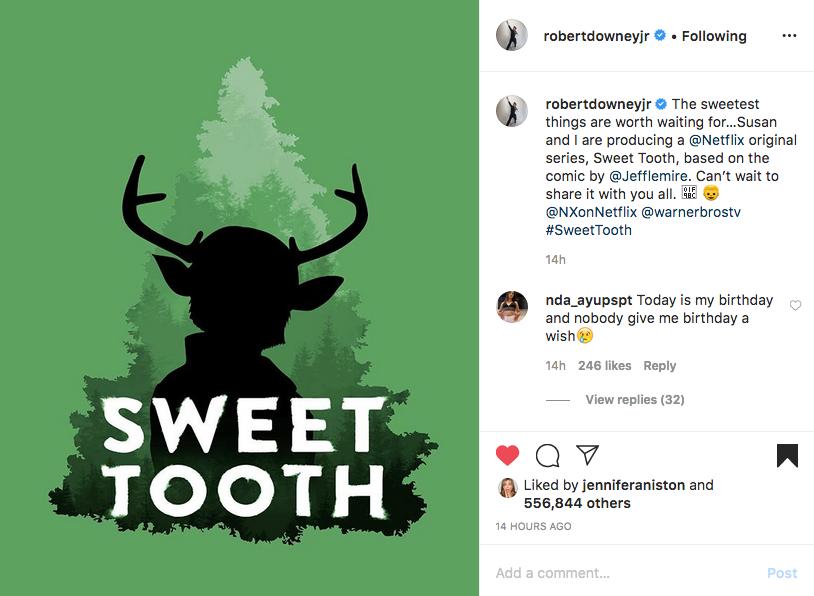 Роберт Дауни-младший обрадовал поклонников новостью о сотрудничестве с Netflix. Фото скриншот instagram @robertdowneyjr