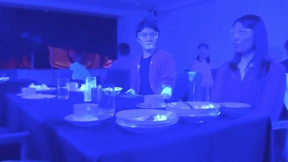 Эксперимент был основан на взаимодействии с флуоресцентной краской. Фото Скриншот видео NHK.