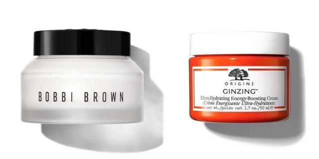 Увлажняющий крем Hydrating Water Fresh Cream Bobbi Brown (4790 руб.) / Насыщенный крем, придающий сияние Origins Ginzing (1800 руб.).