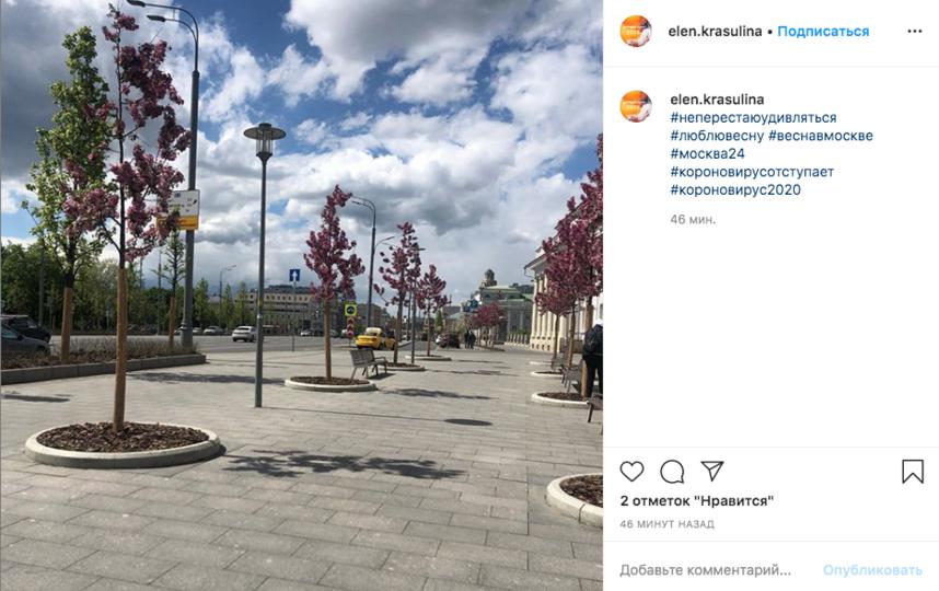 Облачная погода с прояснениями останется в Москве на ближайшие дни. Фото скриншот Instagram @elen.krasulina
