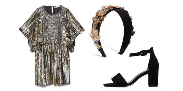 Платье Zara (6999 руб.) / Ободок для волос Asos (590 руб.) / Босоножки Vagabond (7100 руб.).
