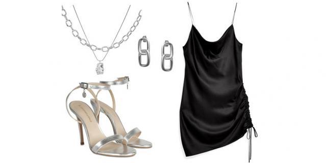Колье Lisa Smith (4600 руб.) / Серьги Philippe Audibert (4725 руб.) / Платье Topshop, YOOX (1950 руб.) / Босоножки Trussardi Jeans (11 475 руб.).