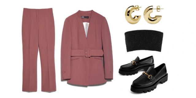 Брючный костюм Zara (7598 руб.) / Лоферы Uterque (10 990 руб.) / Бра Calvin Klein Collection, YOOX (5000 руб.) / Серьги PDPAOLA (4140 руб.).