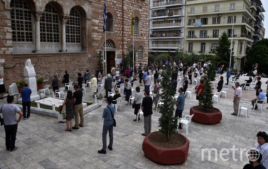Прихожане церкви в Греции. Фото AFP