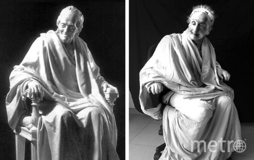 """Галина давно заметила, что её мама чем-то похожа на статую """"Вольтер, сидящий в кресле"""" из Эрмитажа. Фото предоставлено Галиной Блейх"""