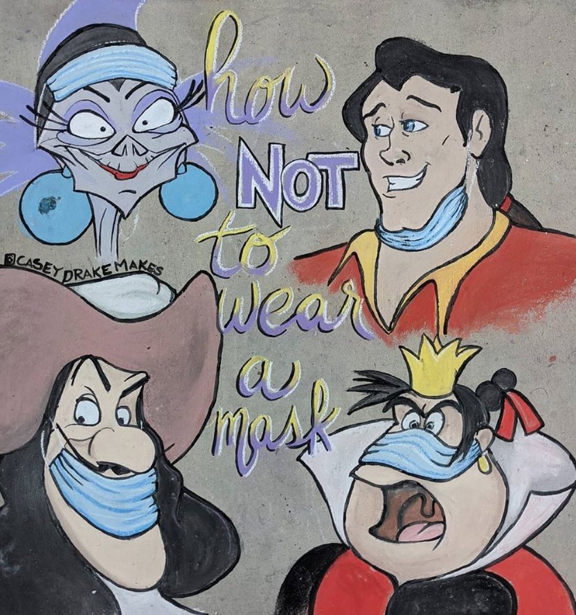 Герои диснеевских мультфильмов наглядно показывают, как нельзя носить маску. Фото Instagram @caseydrakemakes