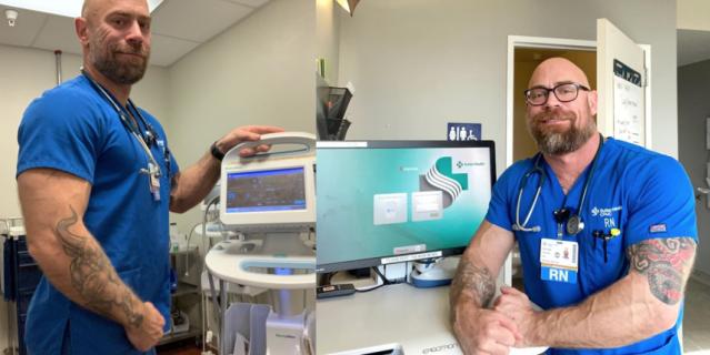 Мужчина работает медбратом в бостонской больнице.