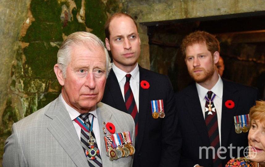 Принц Гарри с отцом принцем Чарльзом и братом принцем Уильямом. Фото Getty