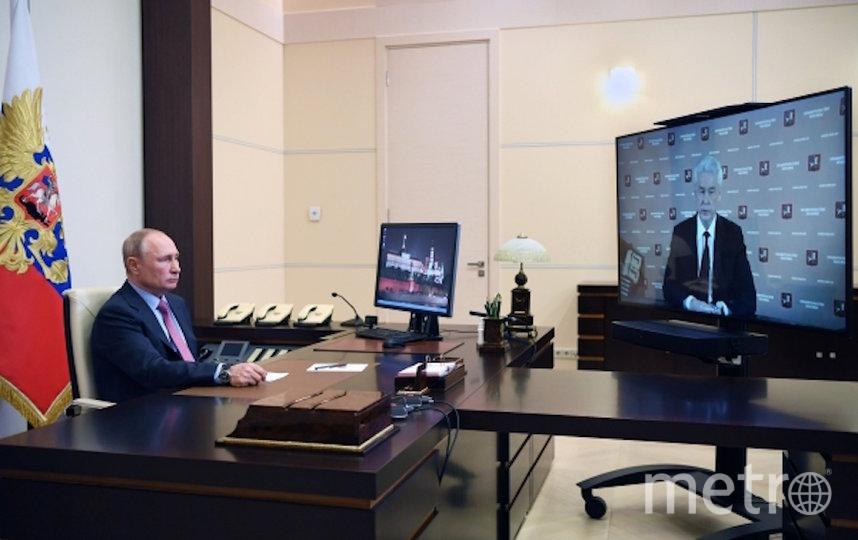 Президент РФ Владимир Путин во время рабочей встречи в режиме видеоконференции с мэром Москвы Сергеем Собяниным. Фото РИА Новости