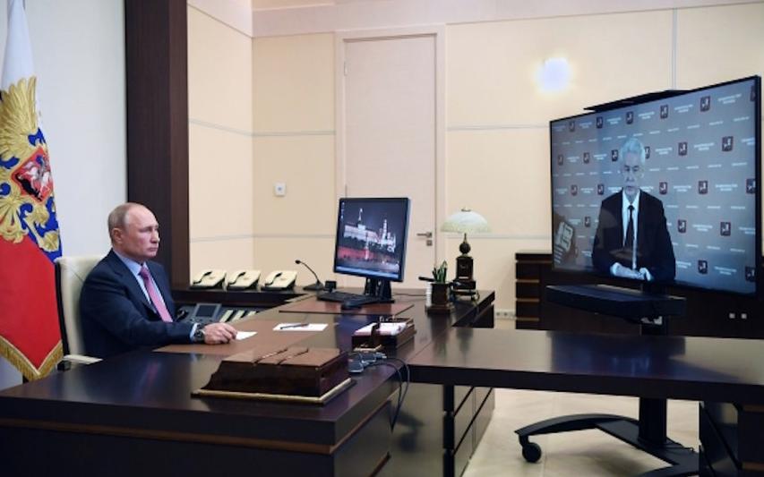 Президент России Владимир Путин высоко оценил действия столичных властей по борьбе с коронавирусом. Фото РИА Новости