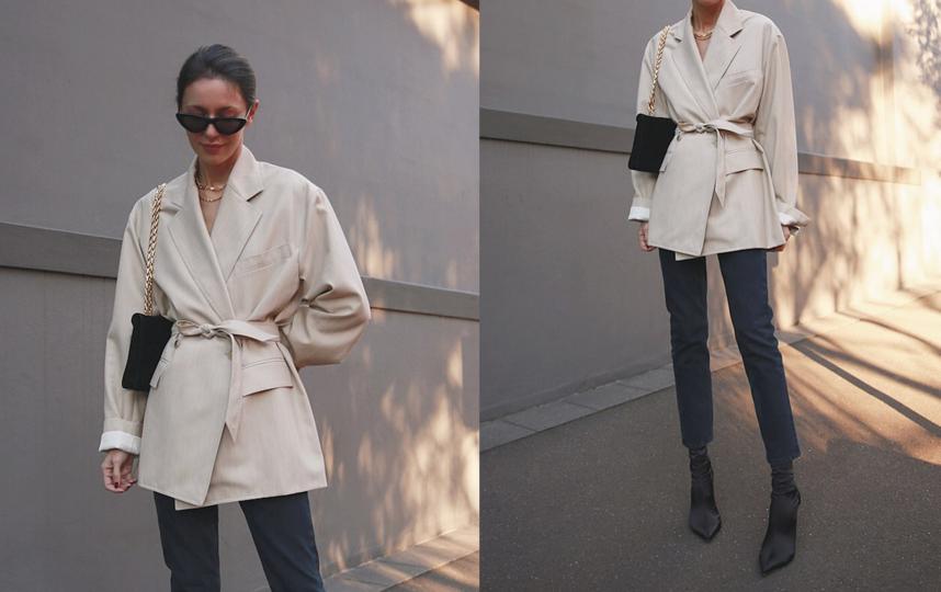 Хотите сделать образ более женственным? Обратите внимание на пиджаки с поясом. Фото instagram.com/pepamack