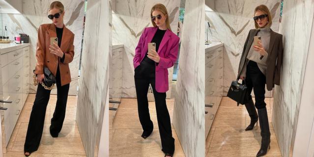 Берите пример с топ-модели Роузи Хантингтон-Уайтли, которая умело дополняет классические брюки блейзерами на любой вкус.