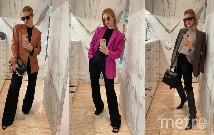 Берите пример с топ-модели Роузи Хантингтон-Уайтли, которая умело дополняет классические брюки блейзерами на любой вкус. Фото instagram.com/rosiehw