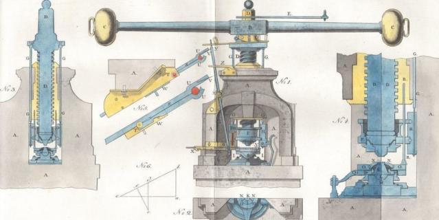 Монетный пресс системы Болтона-Дро. Гравюра из книги И. А. Неведомского. 1811 г.