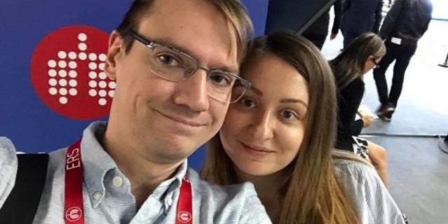 Николай на очередной медицинской конференции вместе с Мариной.