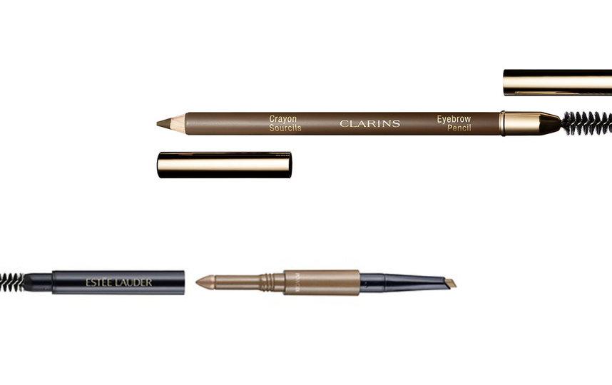 """Многофункциональное средство для бровей (карандаш, пудра, щёточка) Estee Lauder Brow Multi-Tasker / Карандаш для бровей со щёточкой Clarins Crayon Sourcils. Фото Предоставлено интернет-магазином, """"Metro"""""""
