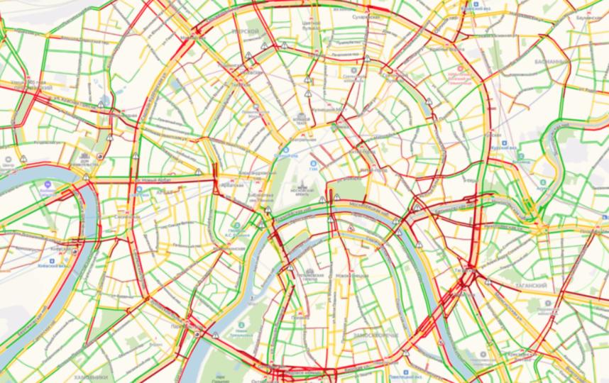 Дороги Москвы в феврале 2020 года. Фото скриншот yandex.ru/maps