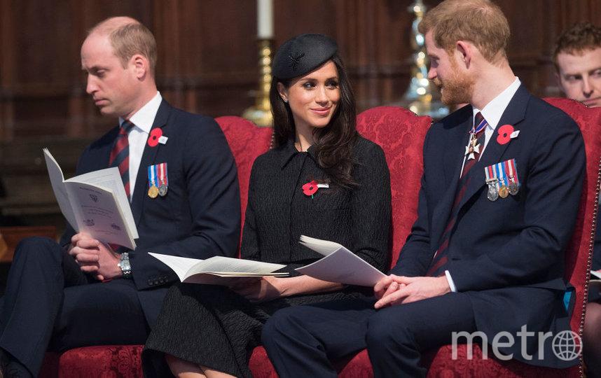Принц Гарри, Меган Маркл и принц Уильям. Фото Getty