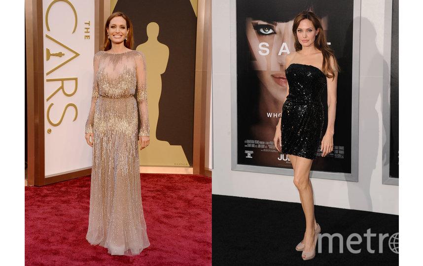 """Актриса на 86-й церемонии вручения """"Оскар"""" в 2014 году / Анджелина на премьере фильма """"Солт"""" в 2010 году. Фото Getty"""