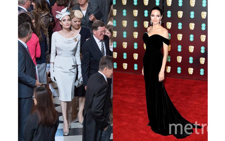 Анджелина Джоли на церемонии вручения ордена Святого Михаила и Святого Георгия 28 июня, 2018 / Актриса на премии BAFTA 18 февраля, 2018. Фото Getty