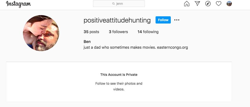 "Скриншот с тайного аккаунта Бена Аффлека. Фото www.instagram.com/positiveattitudehunting/, ""Metro"""
