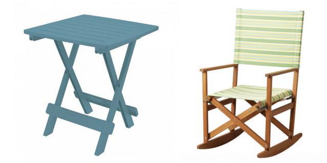 Складной столик из пластика OGOGO (1990 руб.) / Кресло-качалка ИКЕА СОЛБЛЕКТ (7499 руб.).