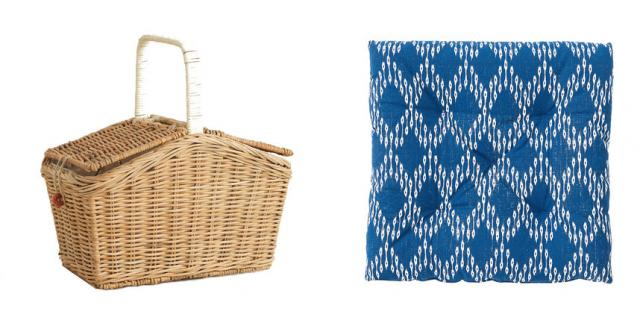 Корзина для пикника Zara Home (3199 руб.) / Подушка на стул H&M Home (799 руб.).