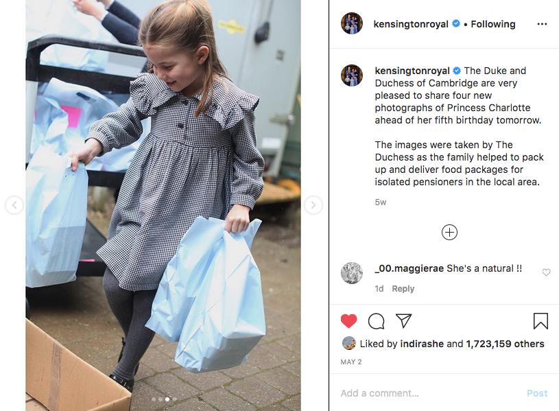 Фото было сделано герцогиней Кембриджской в апреле 2020 года. Фото скриншот @kensingtonroyal